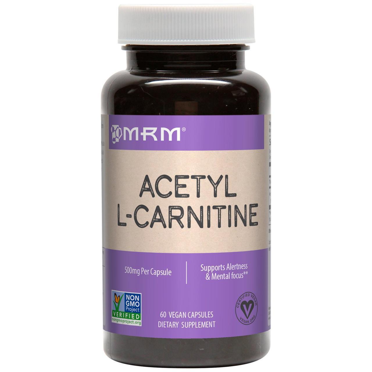 Ацетил L-карнитин, 500 мг, 60 веганских капсул MRM