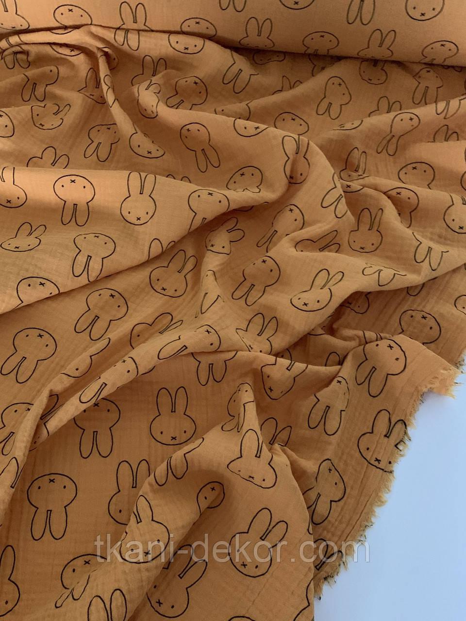 Муслін (бавовняна тканина) зайчики на гірчиці