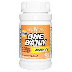 Мультивитамины и минералы для женщин, вітаміни та мінерали для жінок, 100 таблеток 21st Century, One Daily