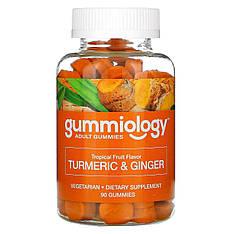 Жувальні таблетки з куркумою і імбиром, для дорослих, 90 вегетаріанських капсул, Gummiology