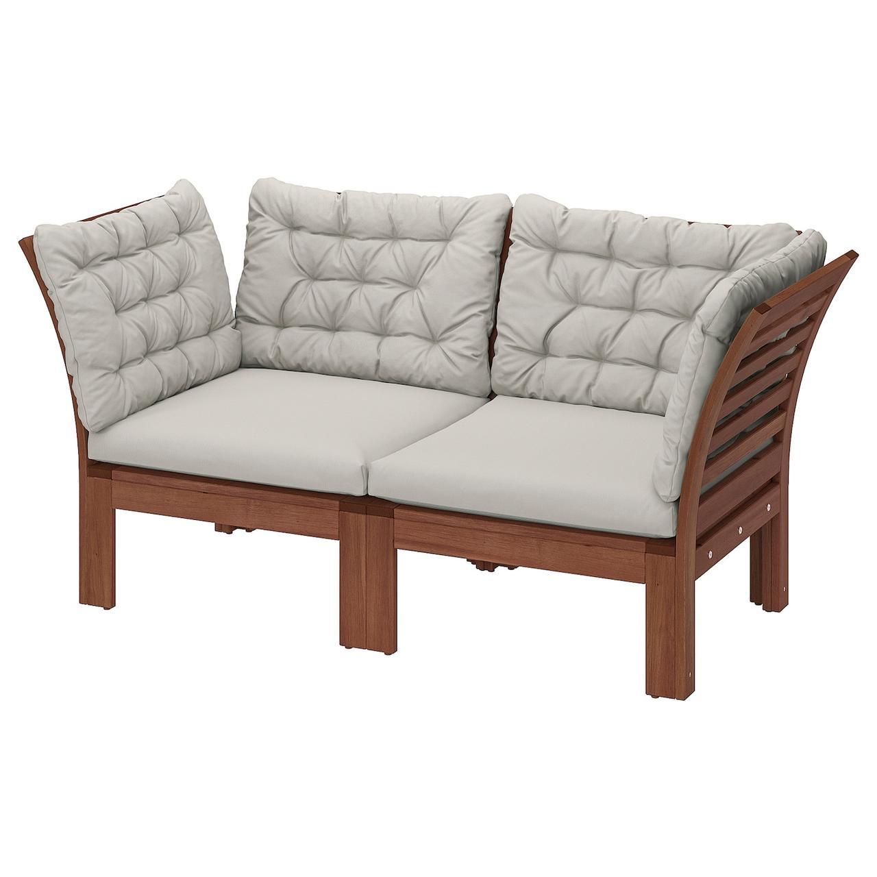 IKEA ÄPPLARÖ Модульний 2-місний диван, дачний, коричнева морилка / Куддарна сірий (293.037.23)