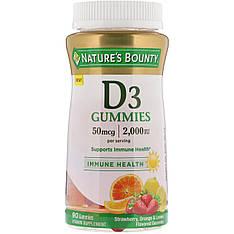 Витамин Д3 для детей 2000 IU, малина, апельсин & лимон 90 желеек Nature's Bounty
