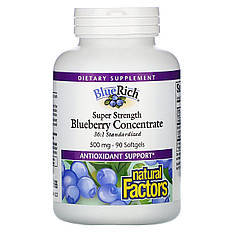 Концентрат черники, 500 мг, 90 мягких таблеток, Natural Factors, BlueRich