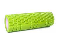 Массажный ролик для спины салатовый 30х10 см, спортивный валик для разминки мышц, ролик для массажа