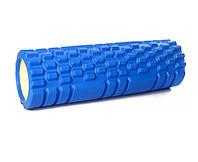 Ролик массажный для спины и йоги синий 30х10 см, спортивный валик для спины, ролик для спины