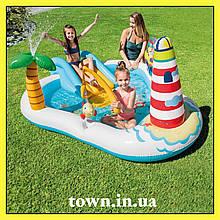 Надувной игровой центр с бассейном Веселая Рыбалка INTEX 57162 Детский бассейн с горкой 218х188х99 см