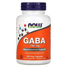 GABA ГАМК, 750 мг, 100 рослинних капсул Now Foods