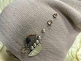 Жіноча шапочка прикрашена камінням 54-57 колір пудра, фото 2
