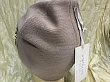 Жіноча шапочка прикрашена камінням 54-57 колір пудра, фото 4