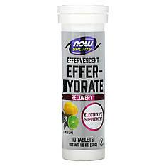 Для відновлення Sports, Effer-Hydrate, Lemon Lime, 10 Tablets, (51 g) Now Foods