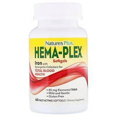 Железо 60 быстродействующих капсул, Nature's Plus, Hema-Plex