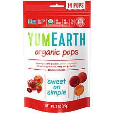 Натуральні органічні льодяники на паличці, смак в асортименті, YumEarth, 14 льодяників, 85 г