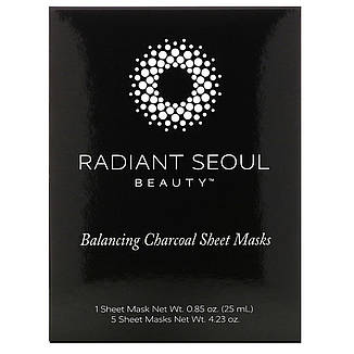 Балансуючі вугільні тканинні маски, 5 тканинних масок, вагою 25 мл кожна, Radiant Seoul, фото 2