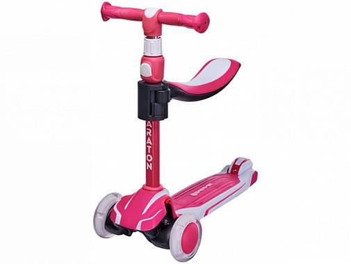 Дитячий триколісний складаний Самокат-Толокар Maraton Flex G з сидінням, Рожевий, фото 2