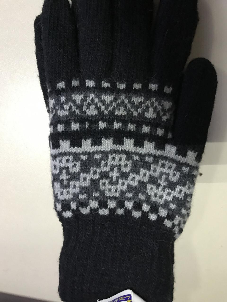 Перчатки мужские вязаные цвет черный с белым орнаментом