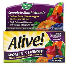 Комплекс витаминов и микроэлементов для женщин, 50 таблеток Nature's Way, Alive! Women's Energy