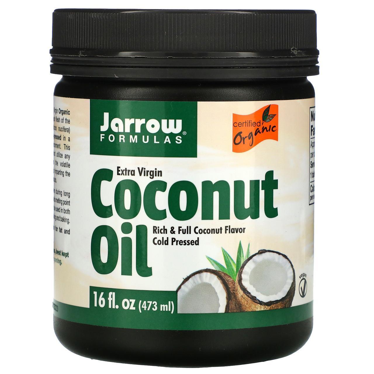 Органическое кокосовое масло холодного отжима, отжатое шнековым прессом, 473 мл Jarrow Formulas