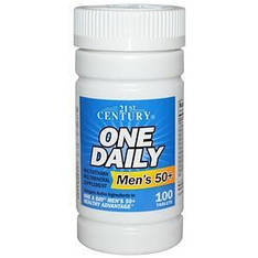 Мультивитамины и мультиминералы для мужчин 50+, 100 таблеток, 21st Century One Daily