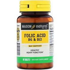 Фолієва кислота В-6, В-12, 90 таблеток Mason Natural