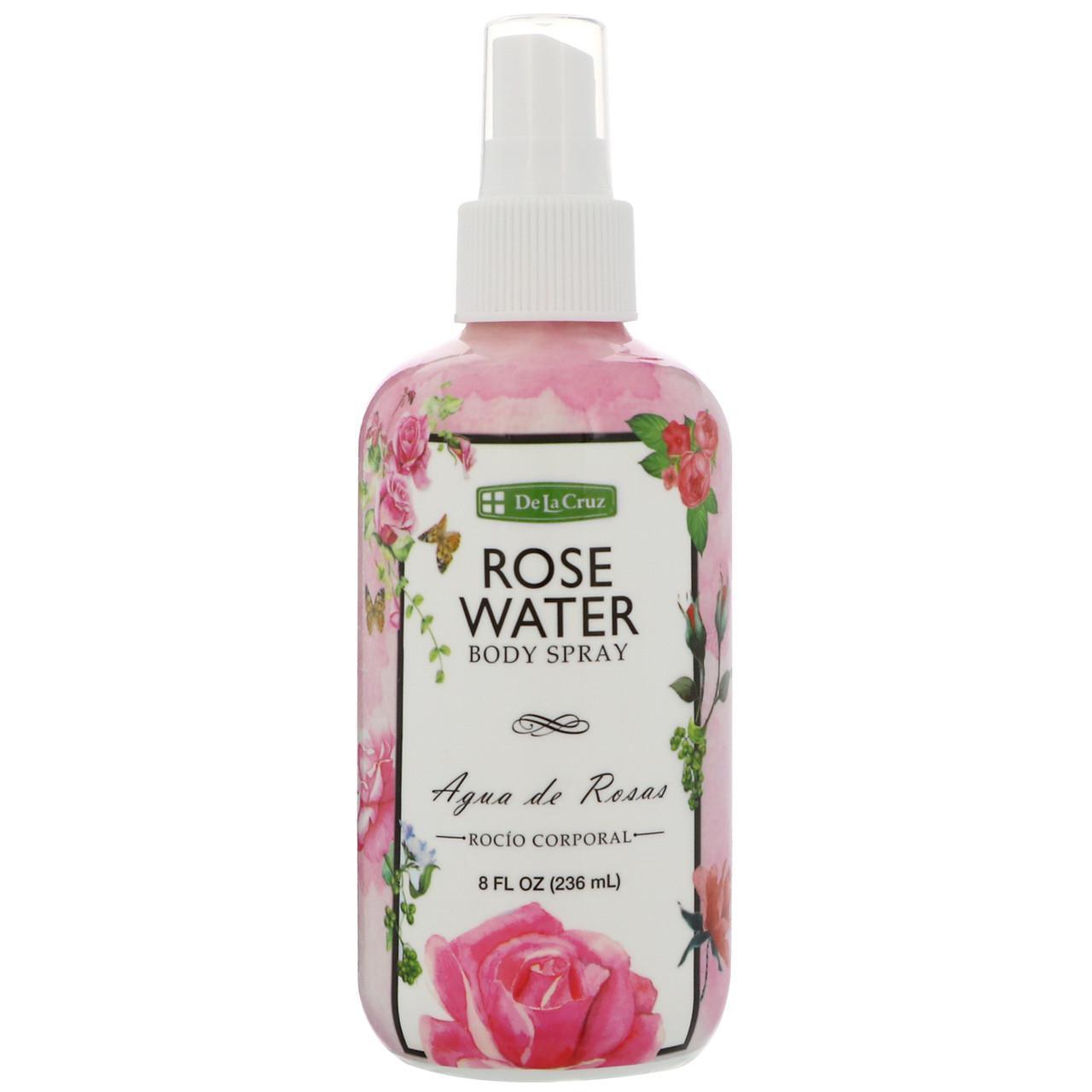 """Спрей для обличчя і тіла """"Рожева вода"""" 236 мл De La Cruz"""