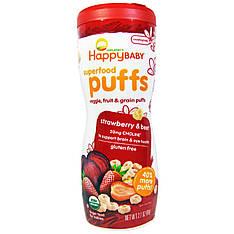 Органічне дитяче харчування, паффсы, полуниця і буряк (60 г) Nurture Inc. (Happy Baby)