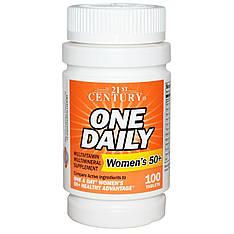 Мультивитамины и минералы для женщин 50+, вітаміни та мінерали для жінок,100 таблеток 21st Century, One Daily