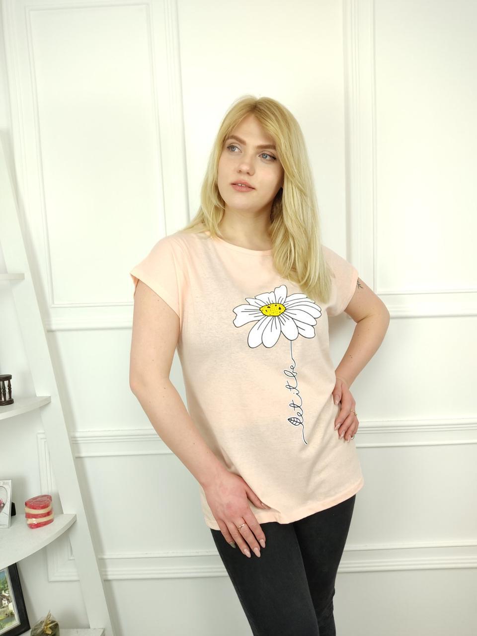 Жіноча футболка батал 52-62рр, ромашка, світло рожевий