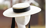 Річна жіноча капелюх Канотьє з натуральної соломки поля 10 см, фото 2