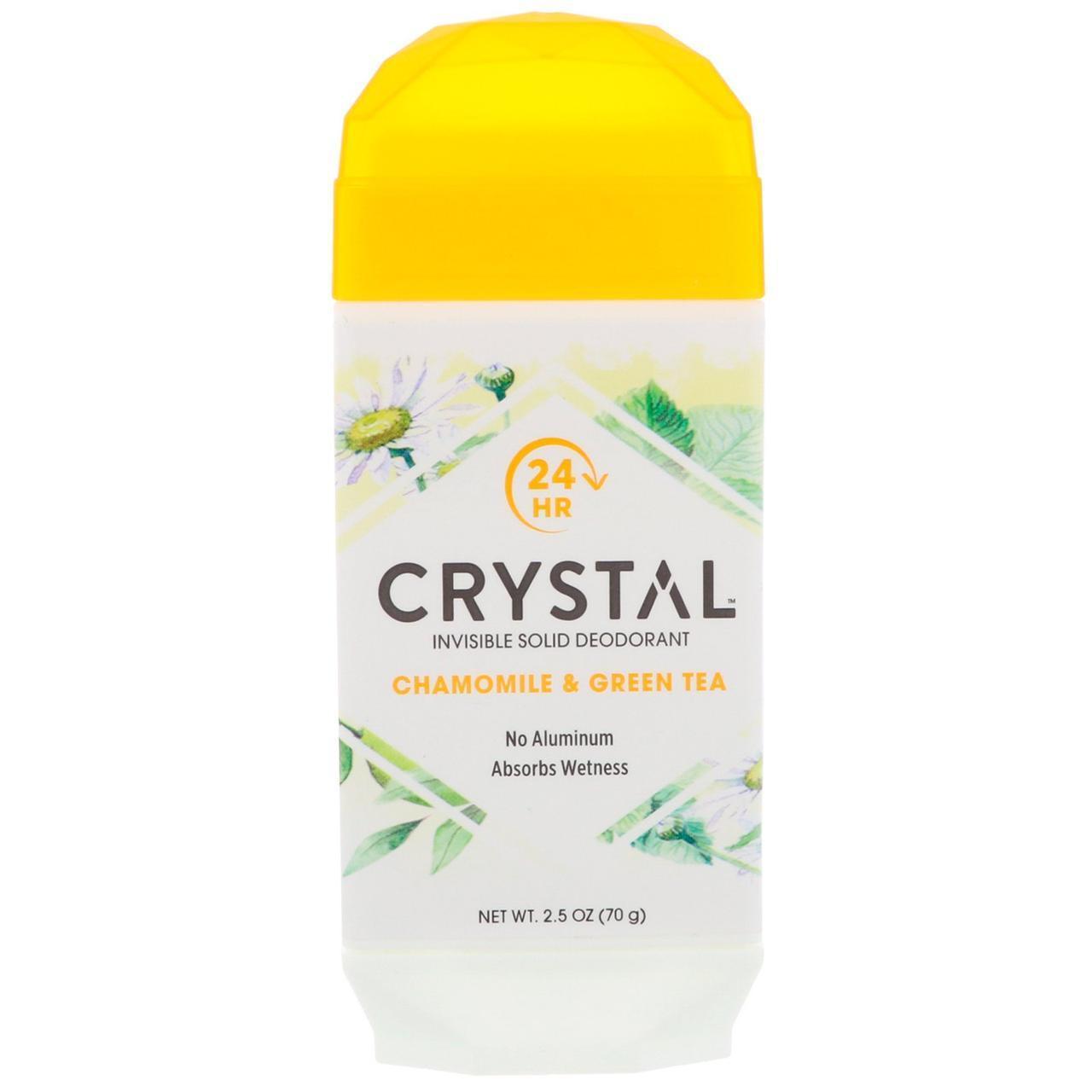 Crystal Body Deodorant, Невидимий твердий дезодорант, ромашка і зелений чай, 70 г