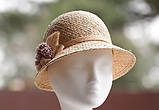Капелюх для літа з натуральної соломки Ширина поля 4-6 см, фото 2