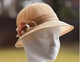 Капелюх для літа з натуральної соломки Ширина поля 4-6 см, фото 3