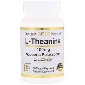 L-теанин, AlphaWave, способствует расслаблению, успокоению и концентрации, 100 мг, California Gold Nutrition