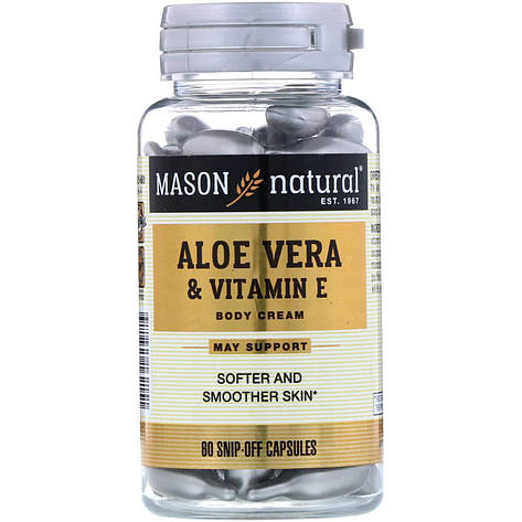 Алоэ вера и витамин Е, натуральный крем, 60 отрезных капсул Mason Natural, фото 2