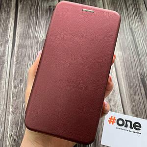Чехол книга для Meizu M6 Note с эко кожи с подставкой магнитом книжка на телефон мейзу м6 нот бордовая STN