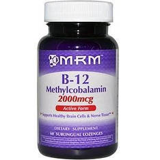 Витамин B-12, метилкобаламин, 2 мг, 60 веганских леденцов, MRM