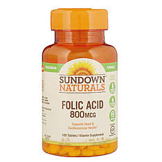 Фолиевая кислота, 800 мкг, 100 таблеток Sundown Naturals