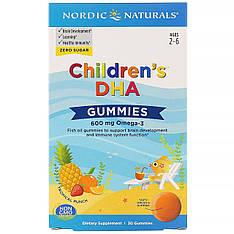 Жувальні таблетки з ДГК, зі смаком тропічних фруктів, 600 мг, 30 шт Nordic Naturals, children's DHA,