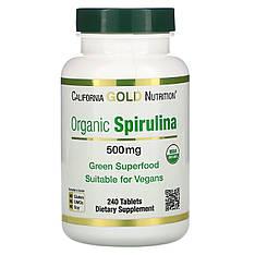 Органическая спирулина, 500 мг, 240 таблеток, California Gold Nutrition