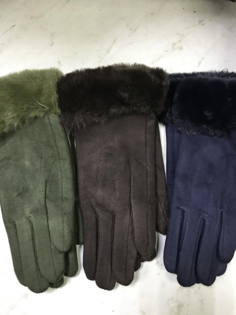 Підліткові рукавички еко замша. на флісі зелені сині коричневі