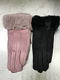 Підліткові рукавички еко замша. на флісі зелені сині коричневі, фото 2
