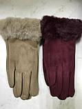 Підліткові рукавички еко замша. на флісі зелені сині коричневі, фото 3