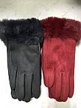Підліткові рукавички еко замша. на флісі зелені сині коричневі, фото 4