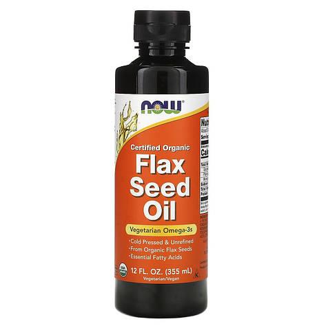 Органічне масло лляного насіння, лляне масло з високим вмістом лигнана, 355 мл Now Foods, фото 2
