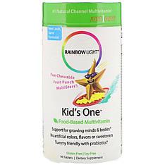 Kid's One Харчові мультивітаміни для дітей, фруктовий пунш, 90 таблеток Rainbow Light