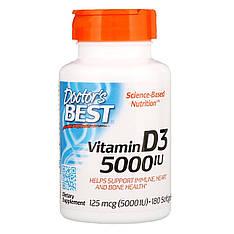 Витамин Д3, 5000 МЕ, 180 мягких капсул, Doctor's Best