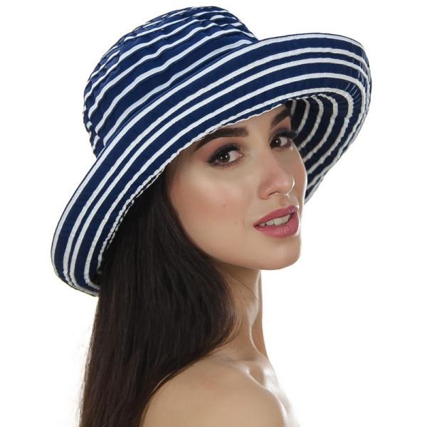 Летняя женская шляпа  средние поля 10.5 см в полоску синяя + белый