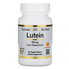 Лютеин с зеаксантином, 20 мг, 60 растительных мягких таблеток California Gold Nutrition,