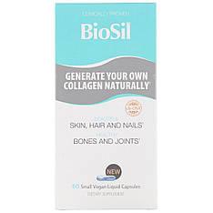 BioSil by Natural Factors, Улучшенный источник коллагена, 60 небольших вегетарианских капсул