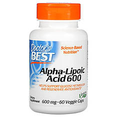 Альфа-ліпоєва кислота, 600 мг, 60 рослинних капсул, Doctor's s Best