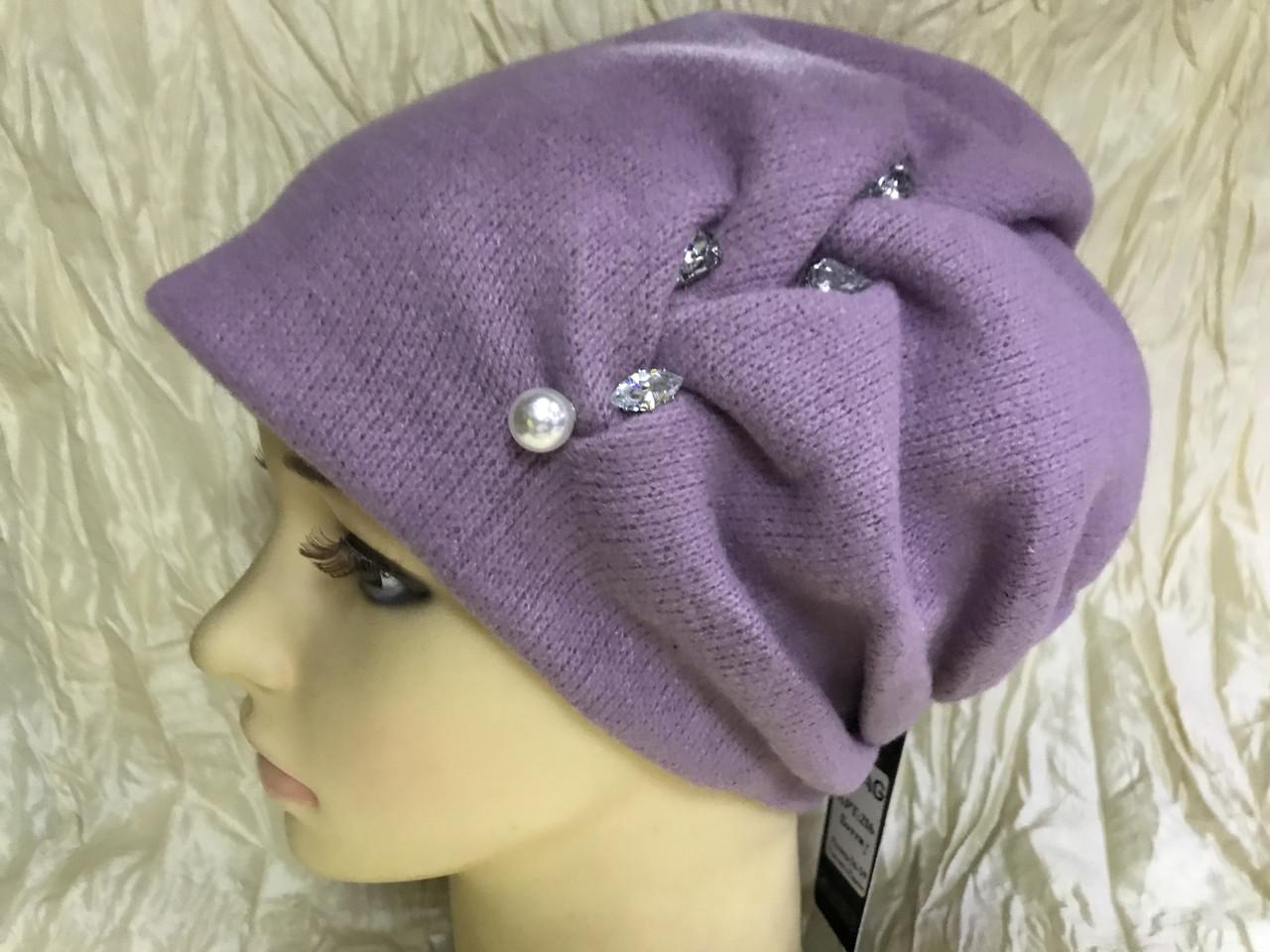 Зимняя кашемировая  сиреневая шапка  с объёмным плетением
